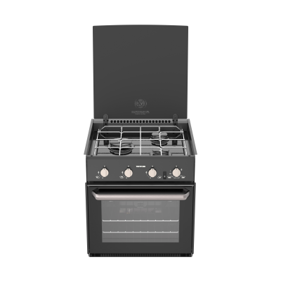 THETFORD TRIPLEX COOKER V IGN BLACK LID BLACK GLASS BRUSHED NICKEL HANDLE KNOBS